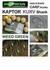 Korda KAPTOR KURV SHANK *WEED GREEN* Hooks for Carp Fishing Coarse Fishing KORDA