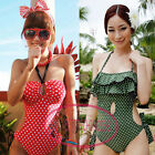 Vintage Ruffle Keyhole Polka Dot One Piece Monokini Swimsuit Bathing Suit UW391