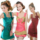 Cute Double Bow Slim Fit One Piece Swim Dress Swimsuit Bathing Suit UW407