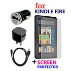 USB Cable+Car+Wall AC Power Charger+Protector For Amazon Kindle Fire Tablet