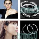 Fashion style sexy glass Crystal Big Earring Hoop Circle 32/42/52/72/80mm