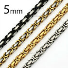 "New 5MM MENS Boys Chain Stainless Steel Byzantine Box Link Necklace 18""-36inch"