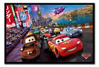 Framed Disney Cars Race Poster Ready To Hang - Choice Of Frame Colours