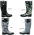 LADIES RUBBER RAIN BOOTS BLACK DOTTED PRINT 5 6 7 8 9 10 11