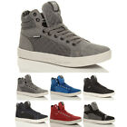 MENS FLAT HI HIGH TOP ANKLE BOOTS LACE UP TRAINERS SHOES SIZE