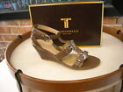 Tignanello Opal Taupe Brown Leather Buckle Wedge Sandal NEW