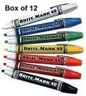Box of 12 Dykem Brite Mark 40 Valve Action Paint Marker Pen Metal Rubber Plastic