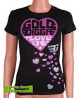"Golddigga Black & Pink Glitter & Sequin Heart ""Love It"" Fitted T Shirt Top  BNWT"