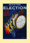 Girls Montre Election Watch Clock by Cappiello Vintage Poster Repro FREE S/H