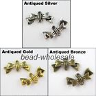 40pcs Tibetan Retro Silver/Golden/Bronze Bowknot Charm Connector For Jewelry DIY