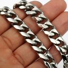 10/12MM Heavy MENS Chain Silver 316L Stainless Steel Flat Curb Cuban Necklace