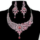 Large Flower Pendant Crystal Necklace Earrings Jewelry Set Fit Wedding Prom