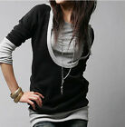 Women Grey Long Sleeve Cotton Tops Dress T-shirt Shirt Hat Hooded Black Coat Z