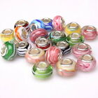 New Wholesale Stripes Colorful Lampwork Spacer Beads Fit European Bracelets