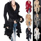 Gorgeous Ruffles Lace Tiered Hem Button Up Cardigan Long Sweater Jacket