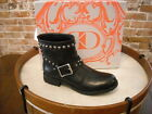 Kelsi Dagger Max Black Leather Studded Moto Ankle Boots NEW