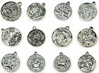 30pcs Twelve Constellations Tibetan Silver Alloy Charm Pendant Beads 18x21mm