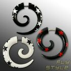 Stern Fake Piercing Spirale Horn Bone ohrring star plug rockabilly stecker emo