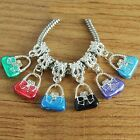 20 SP Enamel Handbag Crystal Charm Bead Fit European Bracelet AB829