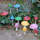 Coloured Resin Mushroom Toadstool Garden Ornament Round & Pointed Head 5 Colours