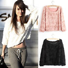 2013 S M L Lace Rose Floral Pullover Jumper Sweater Shirt Blouse Top 3 Colors J