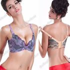 Womens Lady Lace Sexy Peacock Pattern Underwire Push Up Bra Lingerie 12B 14B 16C