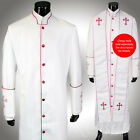 Clergy Robe All Sizes White Red Piping Cross Sequins Cassock Full Length