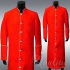 Clergy Robe All Sizes Solid Red White Piping Cassock Full Length Preacher $200