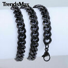 3/5/7/9/11mm Mens Chain Stainless Steel Black Tone Cuban Curb Necklace Bracelet