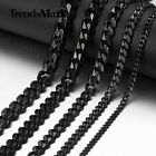 "3/5/7/9/11mm Black Stainless Steel Chain Curb Cuban Mens Necklace 18""-36"""