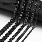 3/5/7/9/11mm Curb Cuban Link Necklace Men's Chain Stainless Steel Black Jewelry