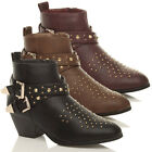 WOMENS LADIES STUDDED STUDS ZIP MID HEEL ANKLE COWBOY WESTERN BOOTS BOOTIES SIZE
