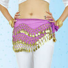 Hot3 Rows Belly Dance Hip Skirt Scarf Wrap Belt Hipscarf with Goin&Silver Coins