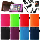 Kindle Fire PU Leather Folio Cover Case/USB Cable/Car Charger/Stylus/Protector