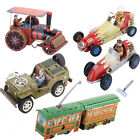 1pc Wind Up Racing Car / Willys Jeep/ Streetcar / Roller Model Clockwork Tin Toy