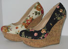 Womens Floral Cotton Linen Round Toe Wedge Platform Shoes Delicious Meroz Roses