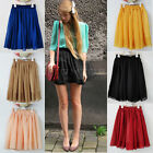 New Women Girls High Waist Pleated Double Layer Chiffon Short Skirts Mini Pompon