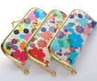 1 pcs in 3 Color Flowers Heart Lady Gold Metal Clutch Wallet Coin Bag Purse