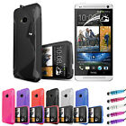 NEW Wave Gel Case Cover Skin for HTC One 2013 M7 - Free LCD Screen Protector