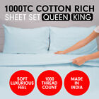 1000TC CVC COTTON SHEET SET QUEEN KING SIZE BED 4 PIECE FITTED FLAT PILLOWCASE