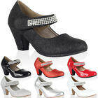 New Kids Diamante Strap Girls Block Heel Mary Jane Court Party Shoes Size 10-2