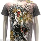 m33o Minute Mirth T-shirt Sz S M L XL Tattoo Skull Tiger Hunter Killer Sexy Lady