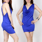Women's Backless Deep V neck clubwear Party Blue Mini Dress (small)