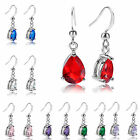 Lady Gift Pear 18k White Gold Plated Birthstone Earring Fashion Jewelry Hook New