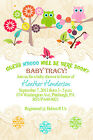 Owl Tree COLORFUL Baby Shower Party Invitations Custom Personalized