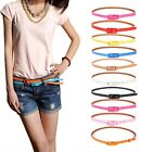 Fashion Women Rectangle Cross Buckle Candy Color Thin Skinny PU Leather Belt