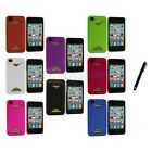 Credit Card ID Snap-On Rubberized Hard Case Cover for iPhone 4S 4G 4+Stylus Pen