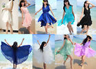 Womens Chiffon Summer Beach Bowknot Flounced Pleated Waist Ruffle Dress Sundress