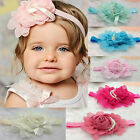 HOT chiffon rosette Pearls Flowers baby toddler girls headbands hair accessory