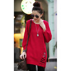 Women Round Neck Knitted Pullover Jumper Casual Loose Knitwear Sweater 6 Colors
